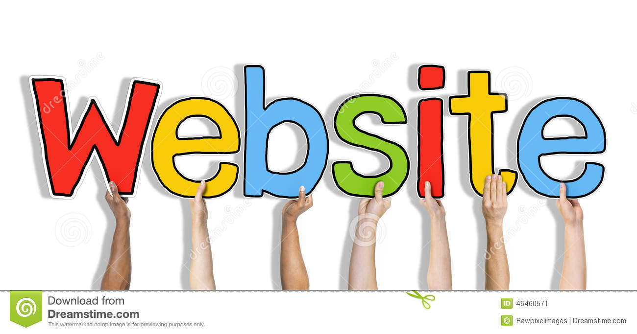 Diverse Hands Holding The Word Website Stock Image