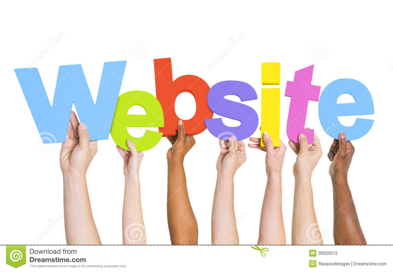 Diverse Human Hands Holding Word Website Stock Photo