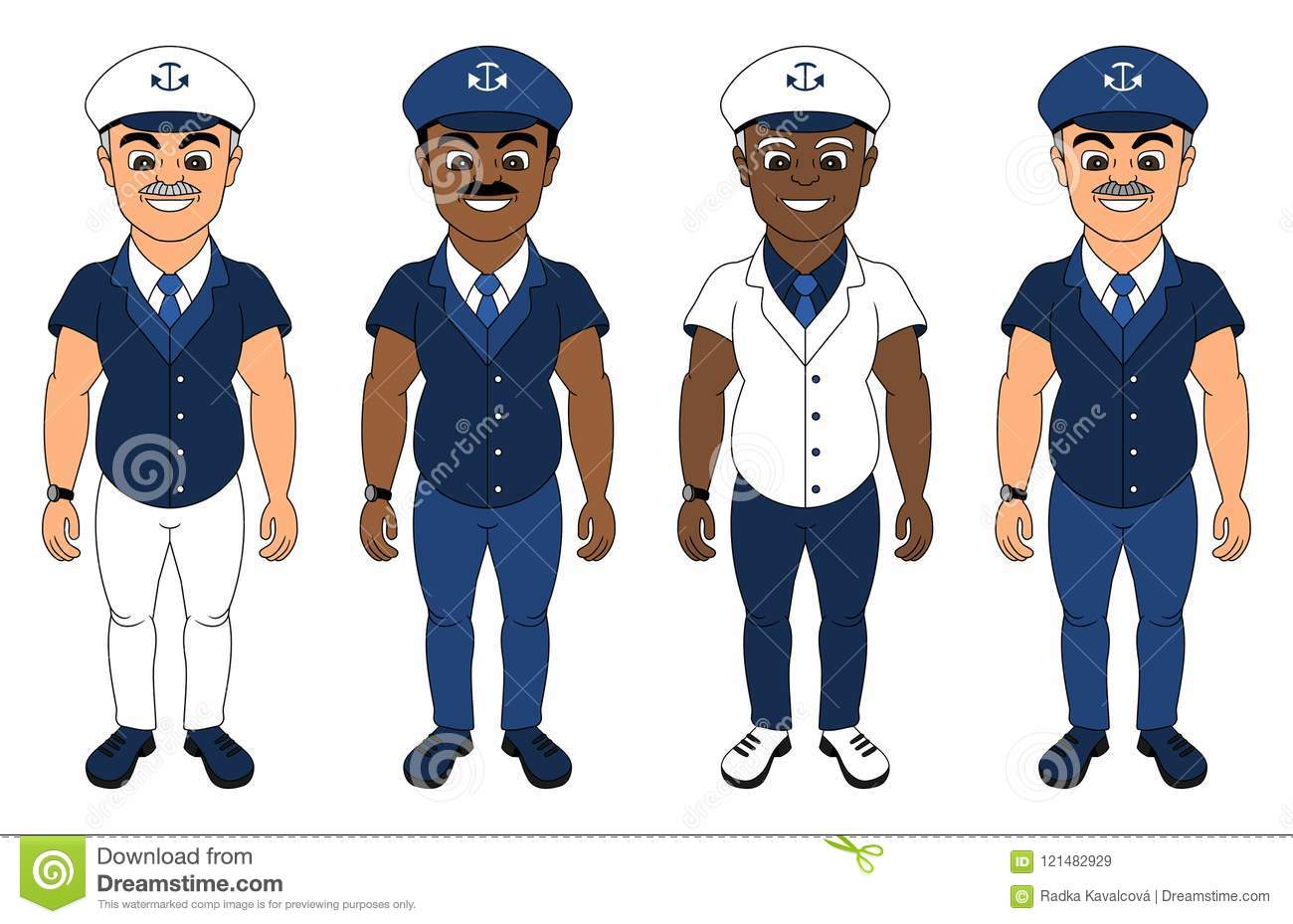 Diverse men in captain uniforms cartoon