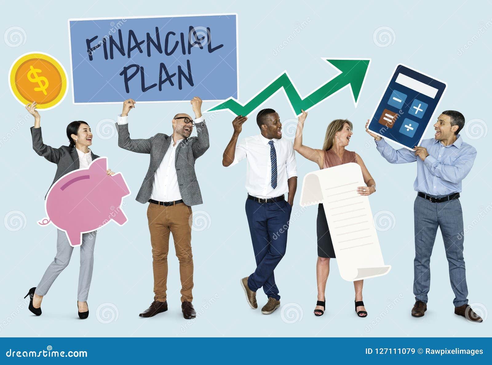Diverse mensen die financiële planpictogrammen tonen