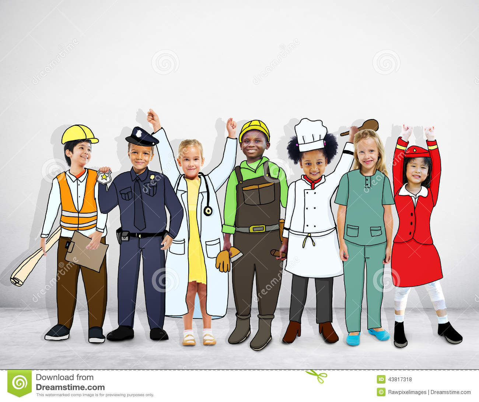 Diverse Multiethnic Children With Different Jobs Stock