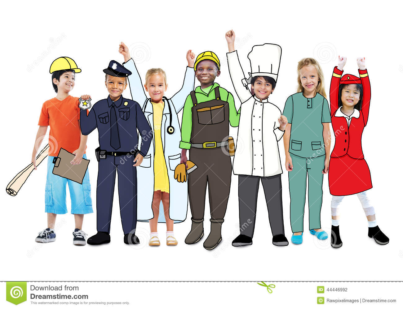Diverse Multiethnic Children With Different Jobs Stock