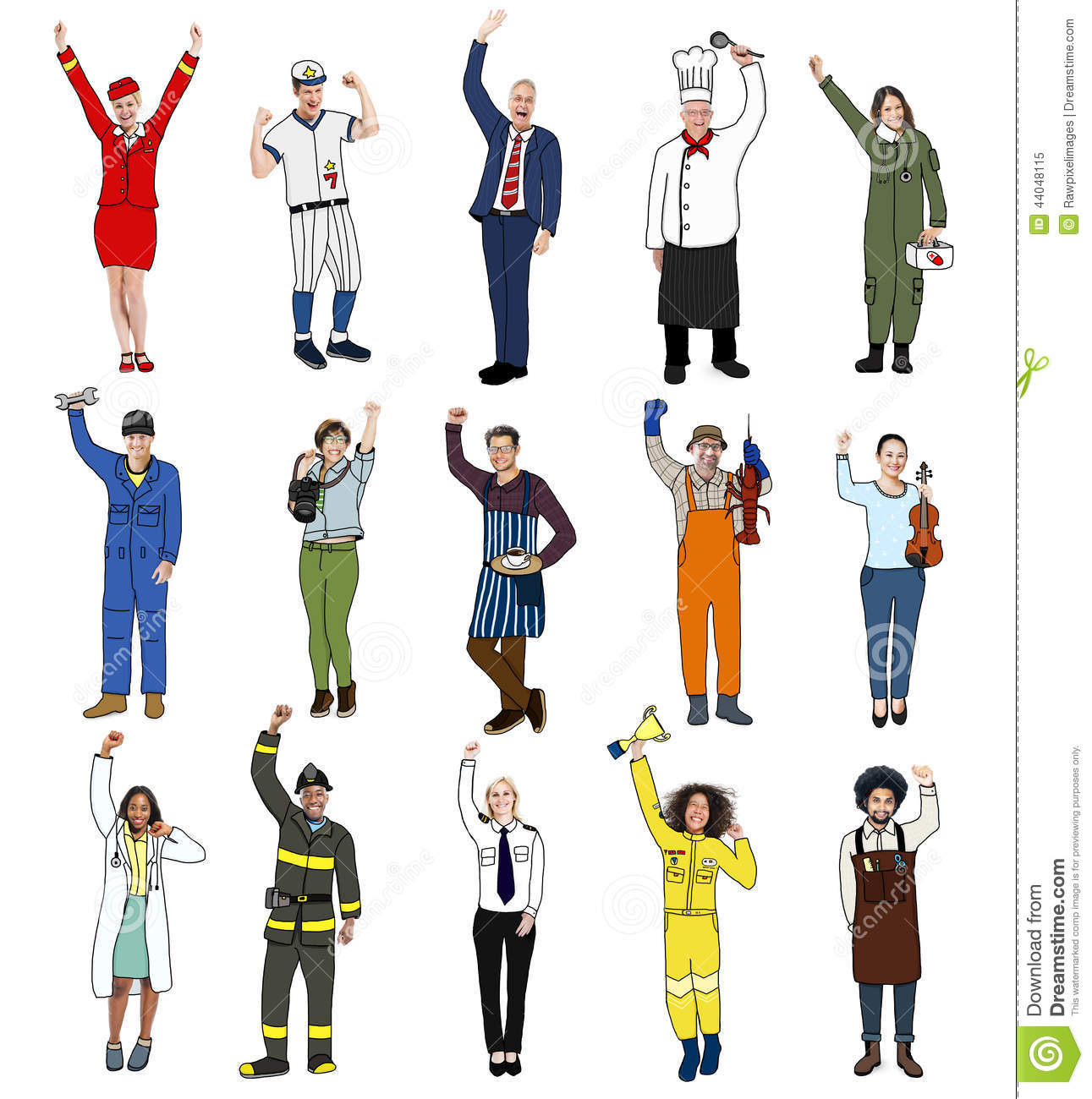 Diverse multiethnic people with different jobs stock image for Arts and craft jobs