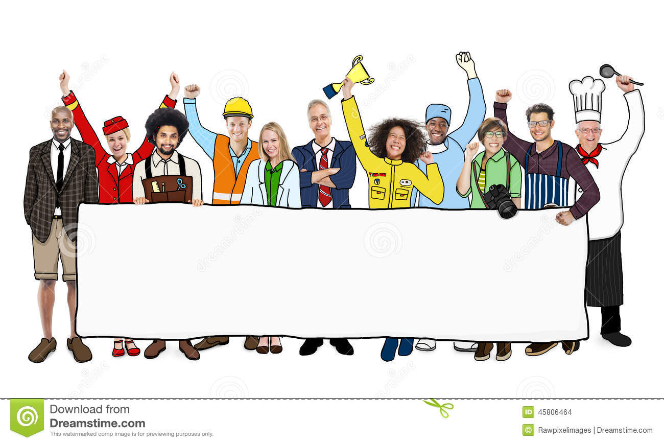 Diverse multiethnic people with different jobs stock photo for Arts and craft jobs