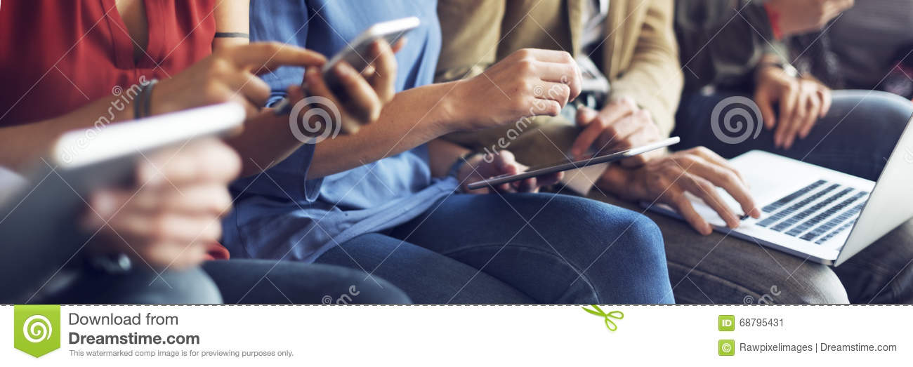 Diverse People Electronic Devices Connection Concept