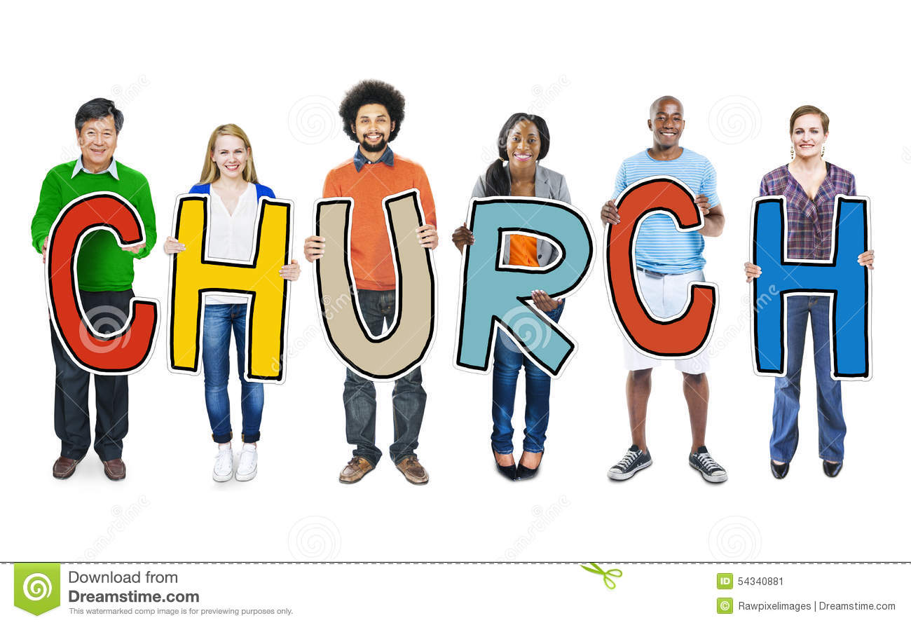 DIverse People Holding Text Church Concept Stock Photo ...