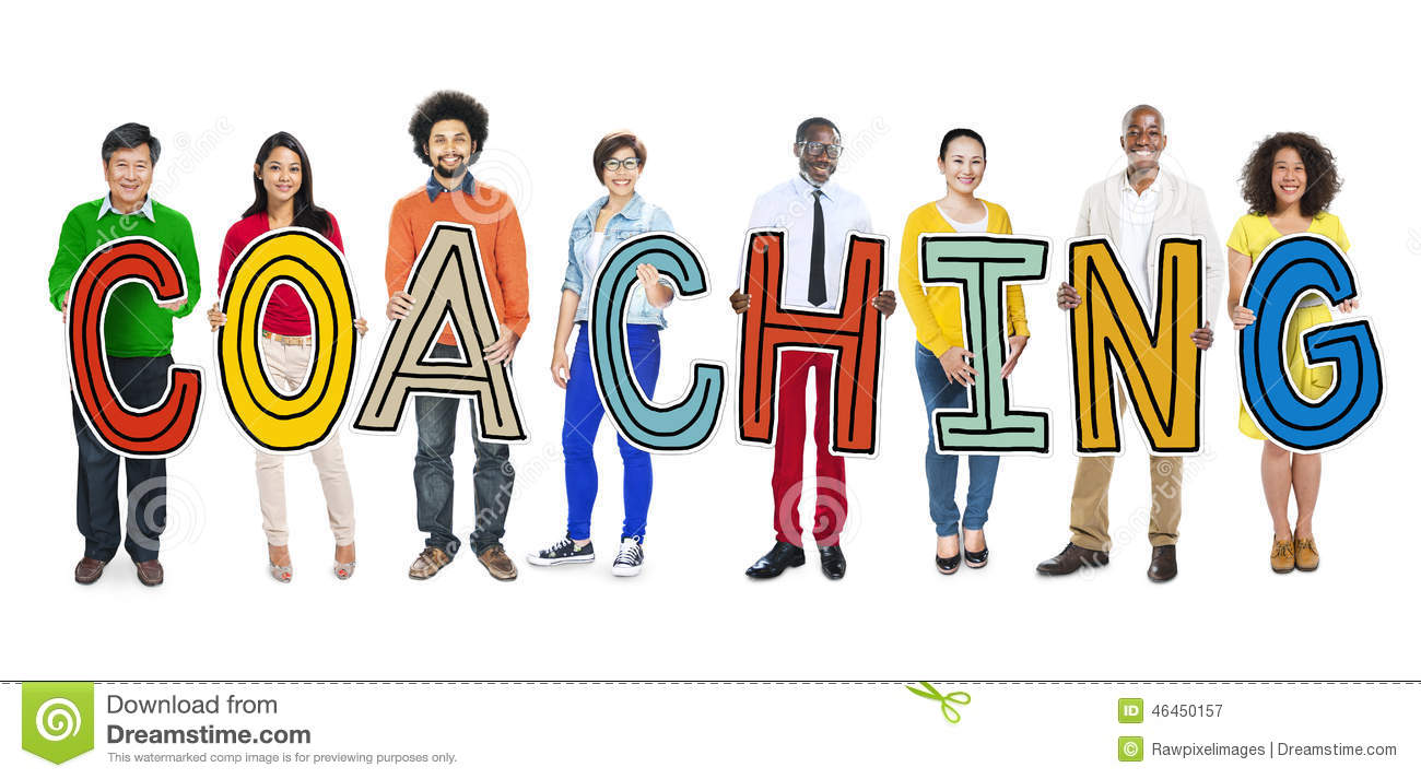 Diverse People Holding Text Coaching Stock Photo - Image ...