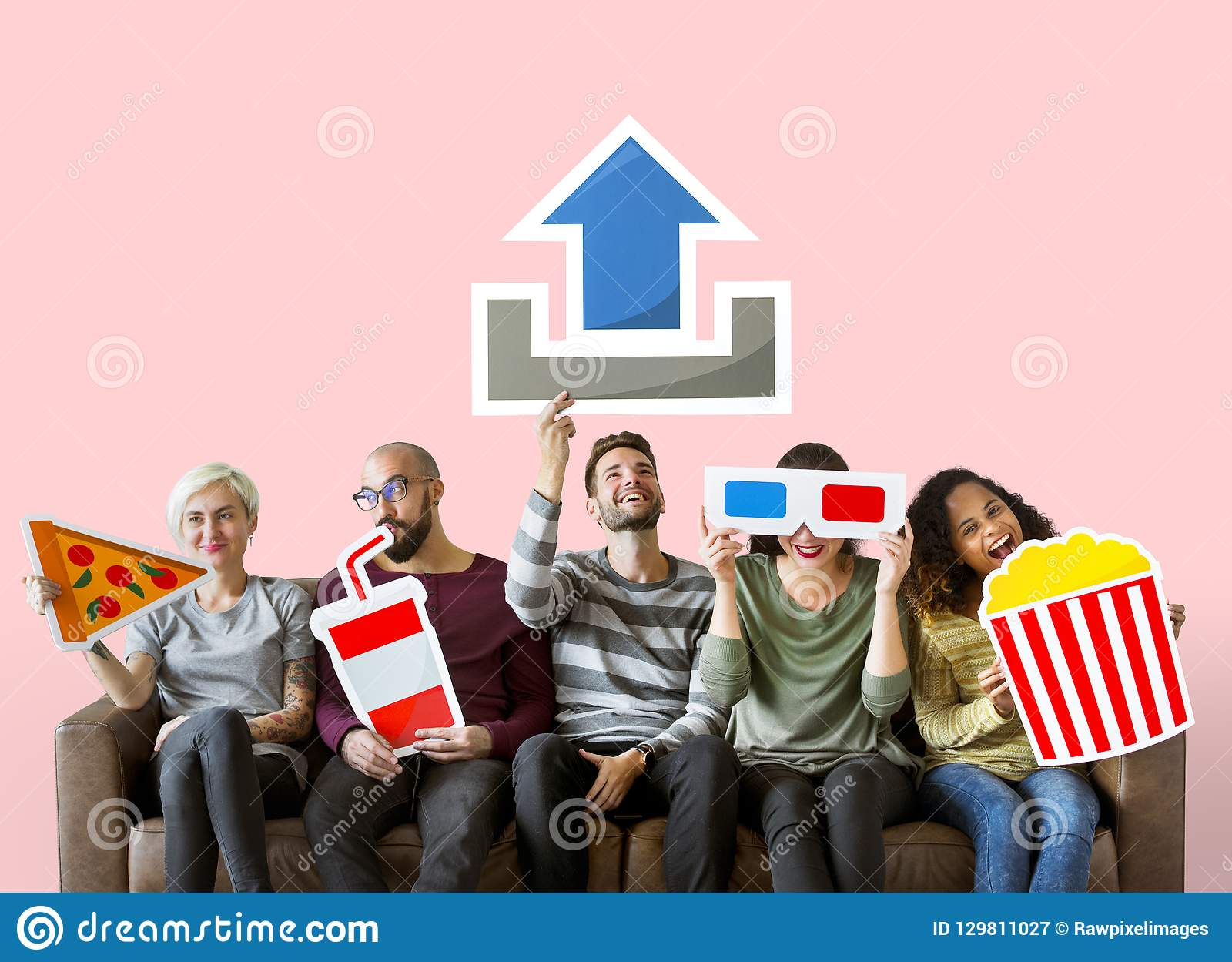 Group of diverse friends and movie upload concept