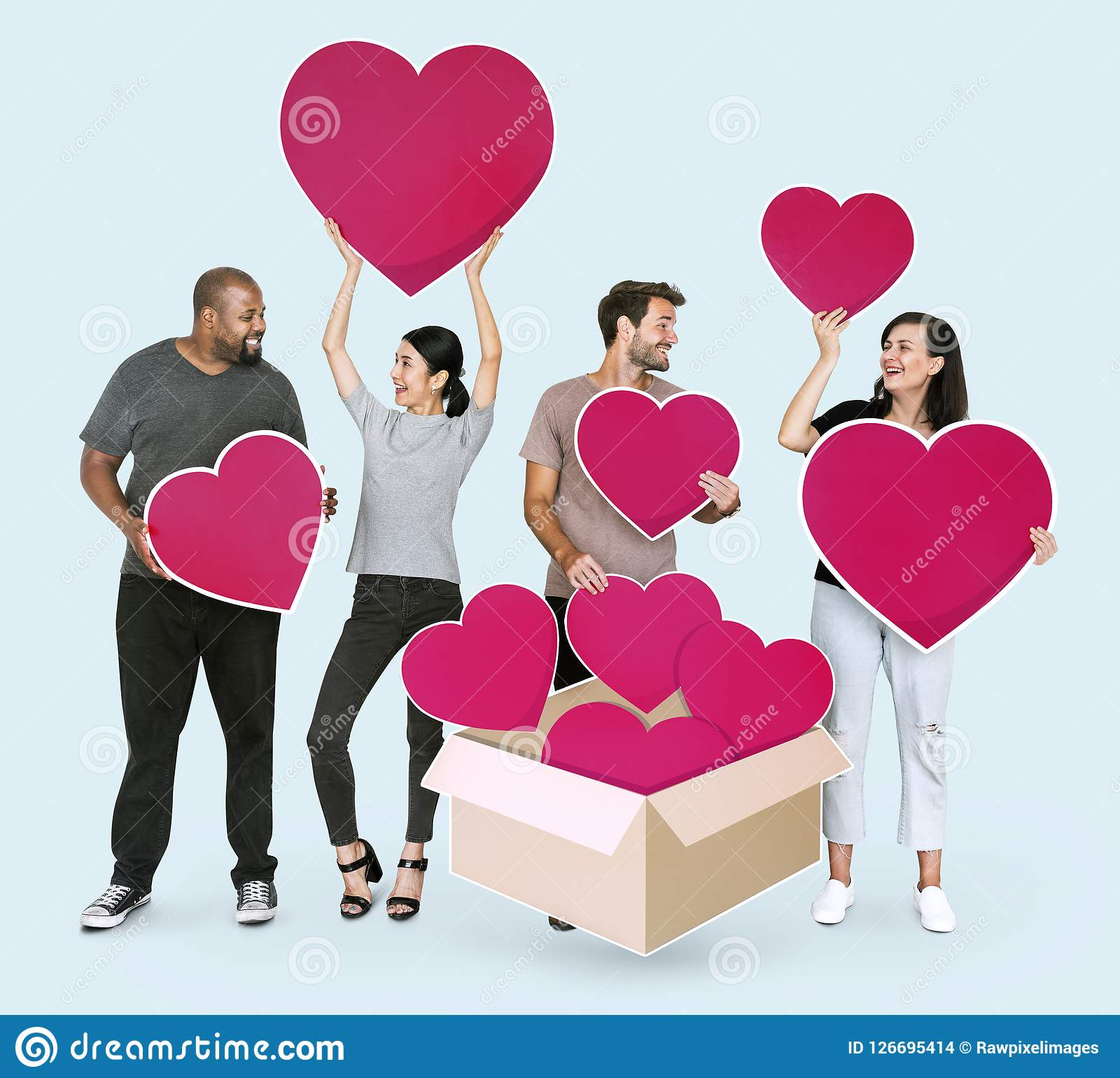 Diverse people with red heart shape icons Stock Images