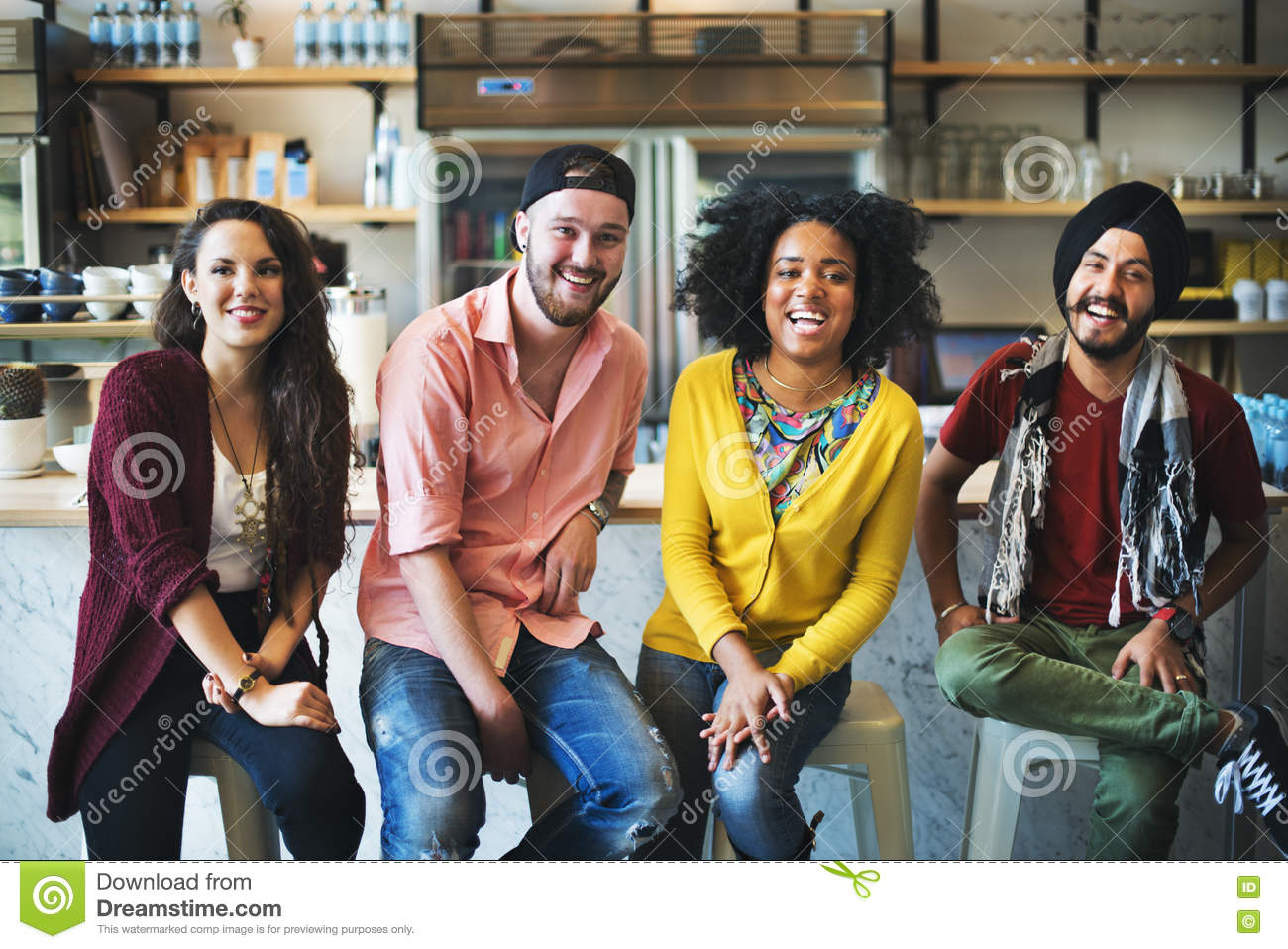 Diverse People Sitting Cheerful Friendship Concept