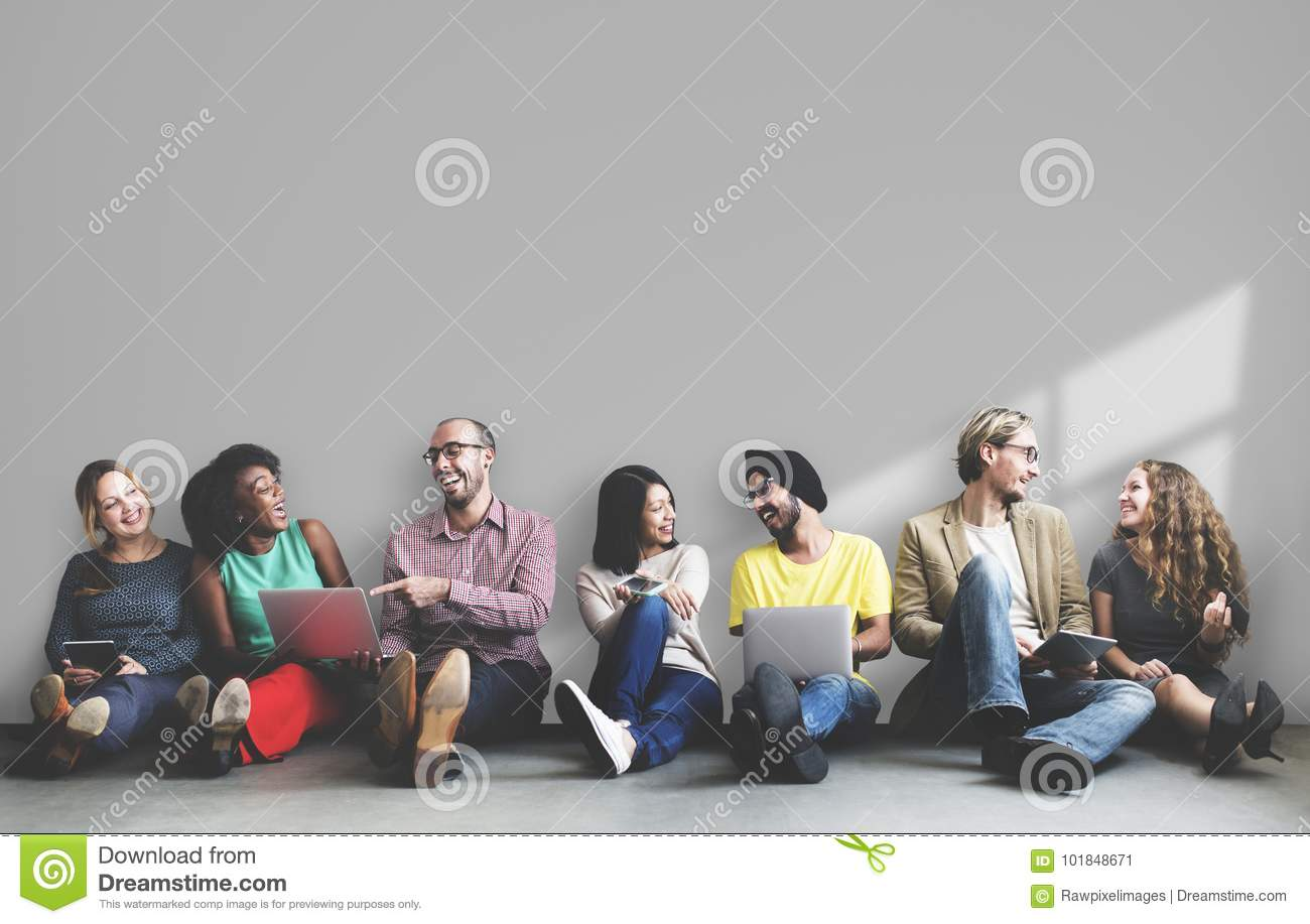 Diverse people sitting and hanging out