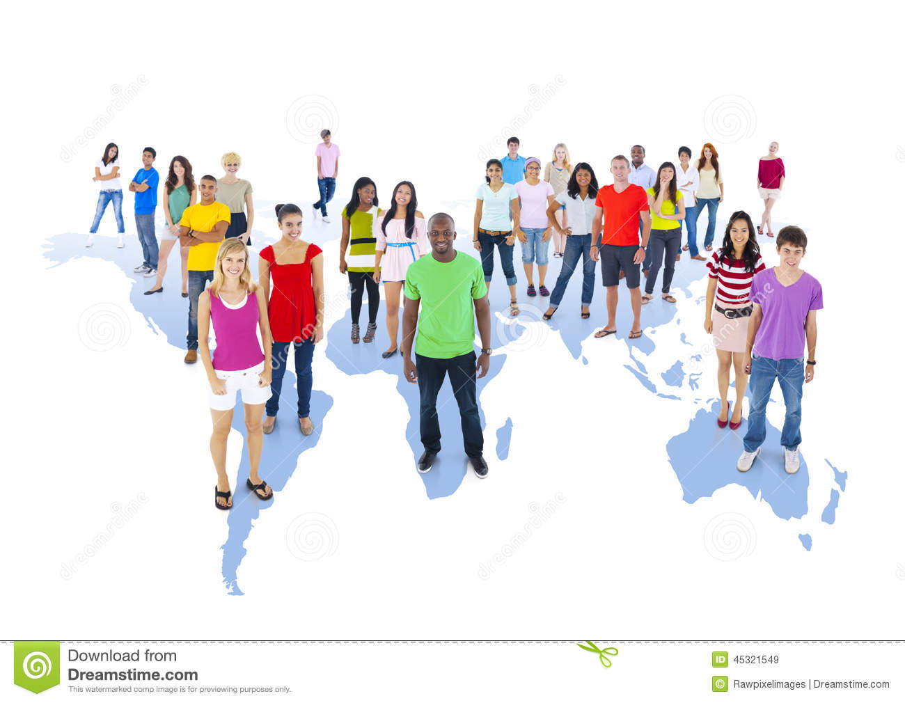 diverse people standing on world map stock image image of