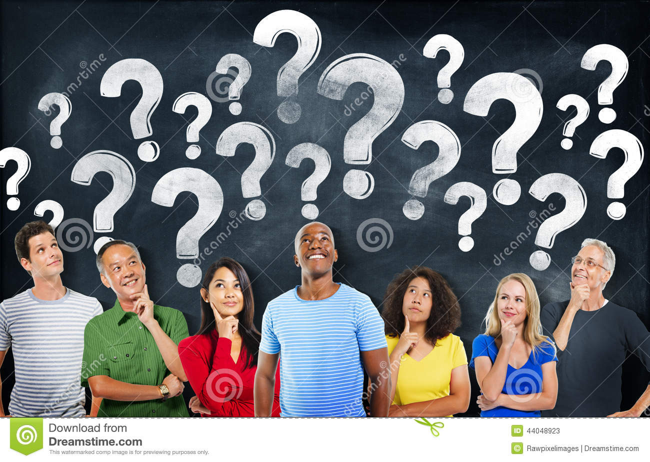 Stock Illustration Diverse People Thinking Question Marks Image4404892...