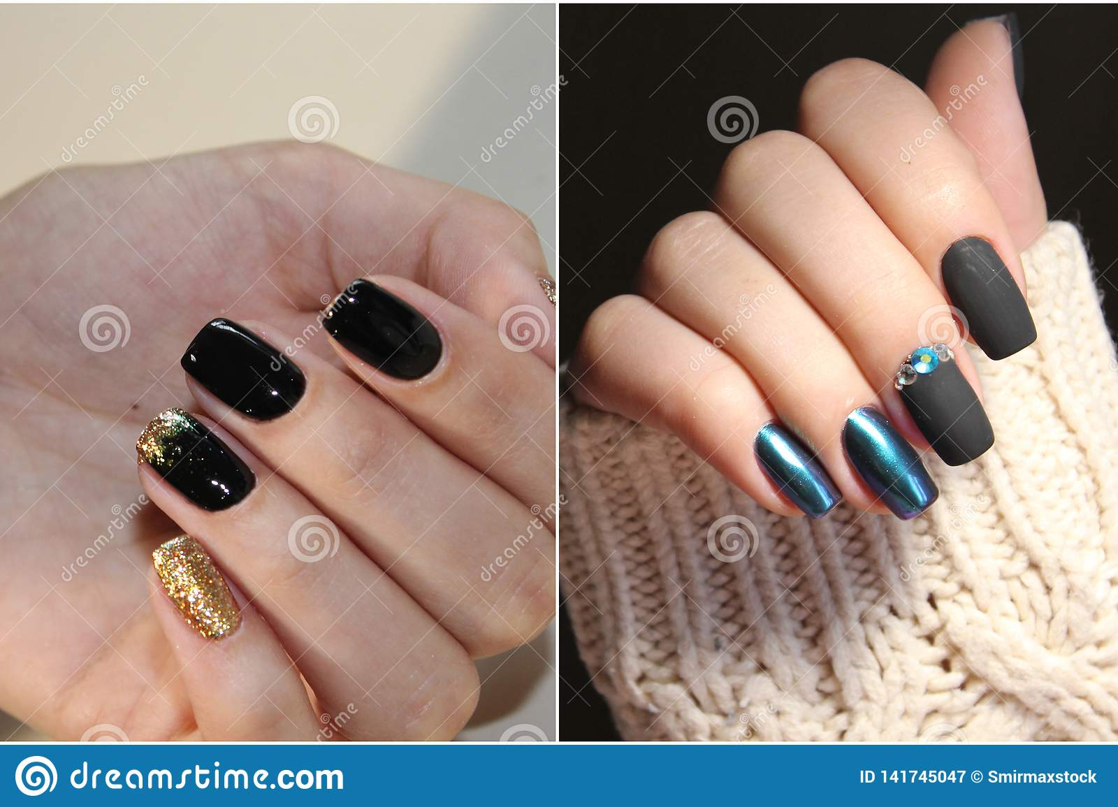 A Diverse Range Of Nail Design Collage By Nail Art Stock Image