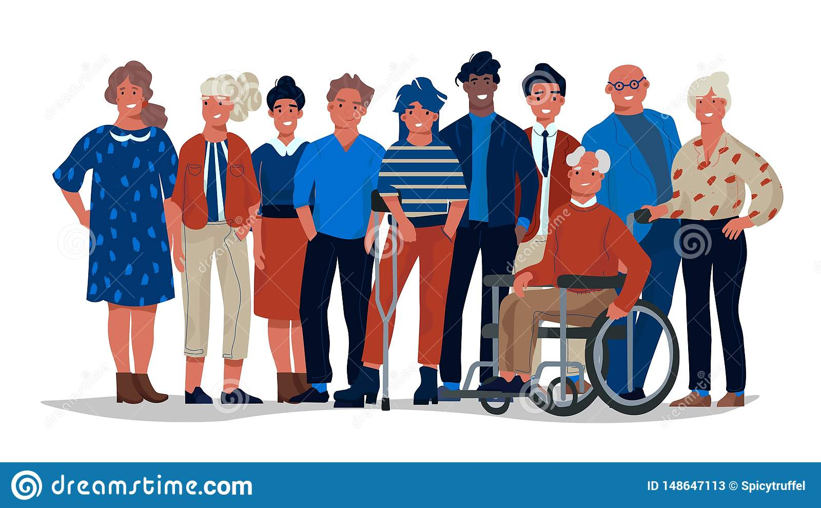 Diverse society people. Group of different multiracial and multicultural people standing together. Vector casual men and
