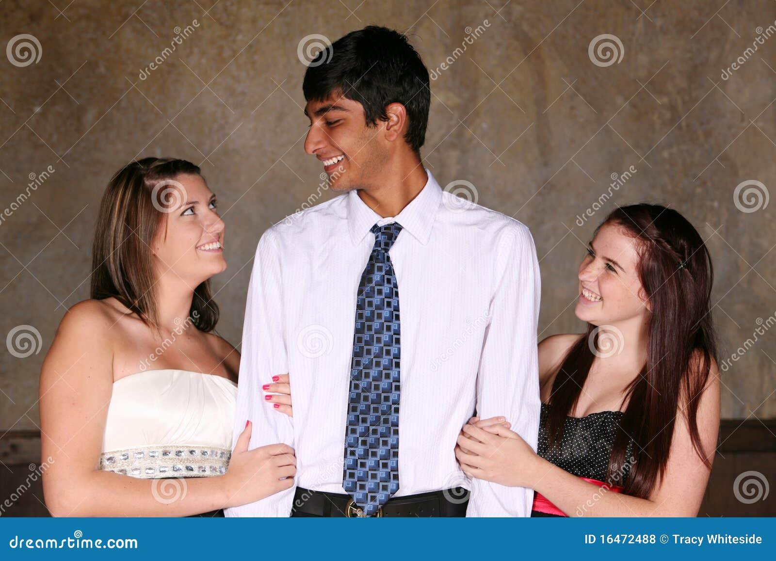 Diverse teens flirting