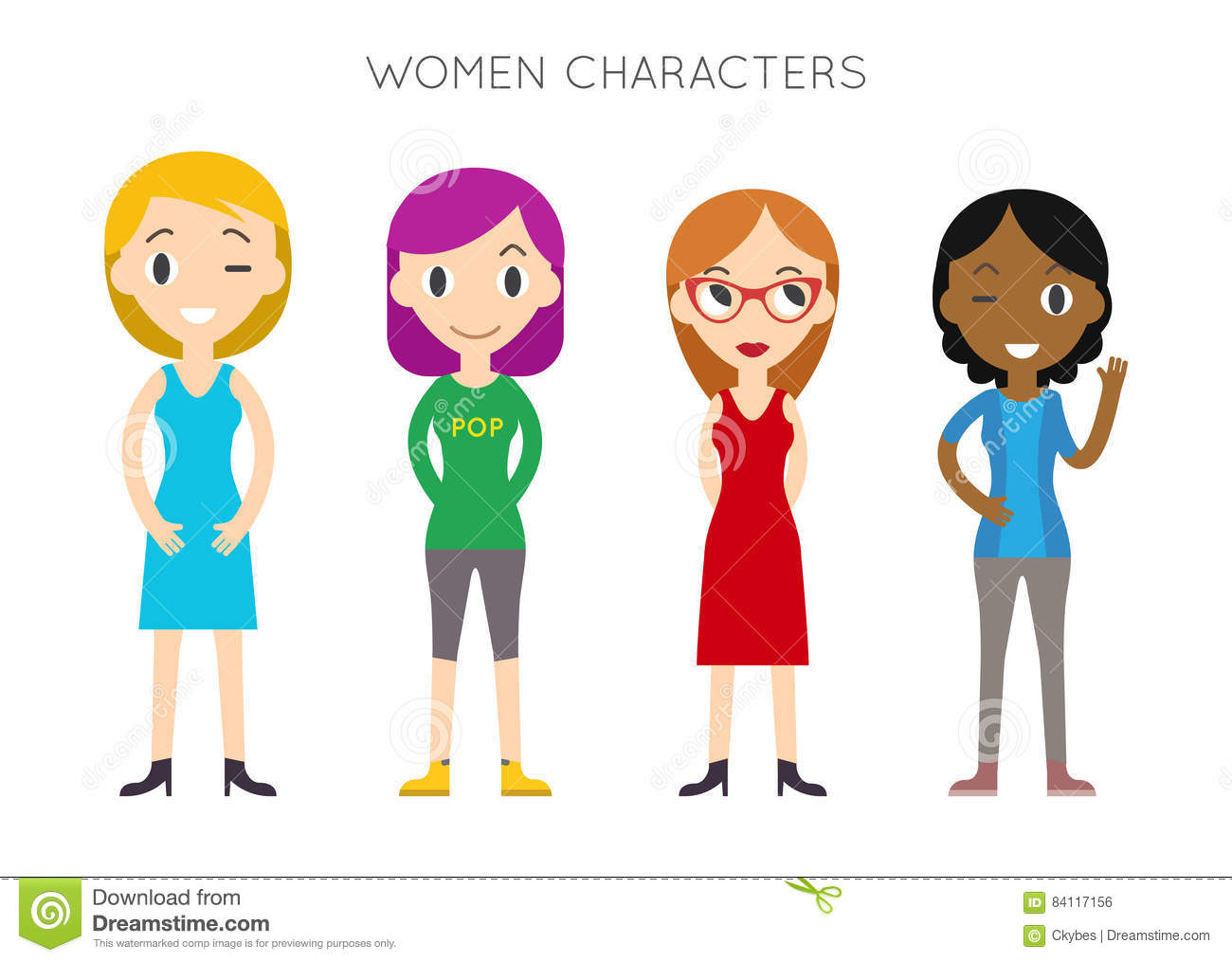 cartoon vector diverse poses different flat illustration female dreamstime characters young cute american simple modern preview diversity