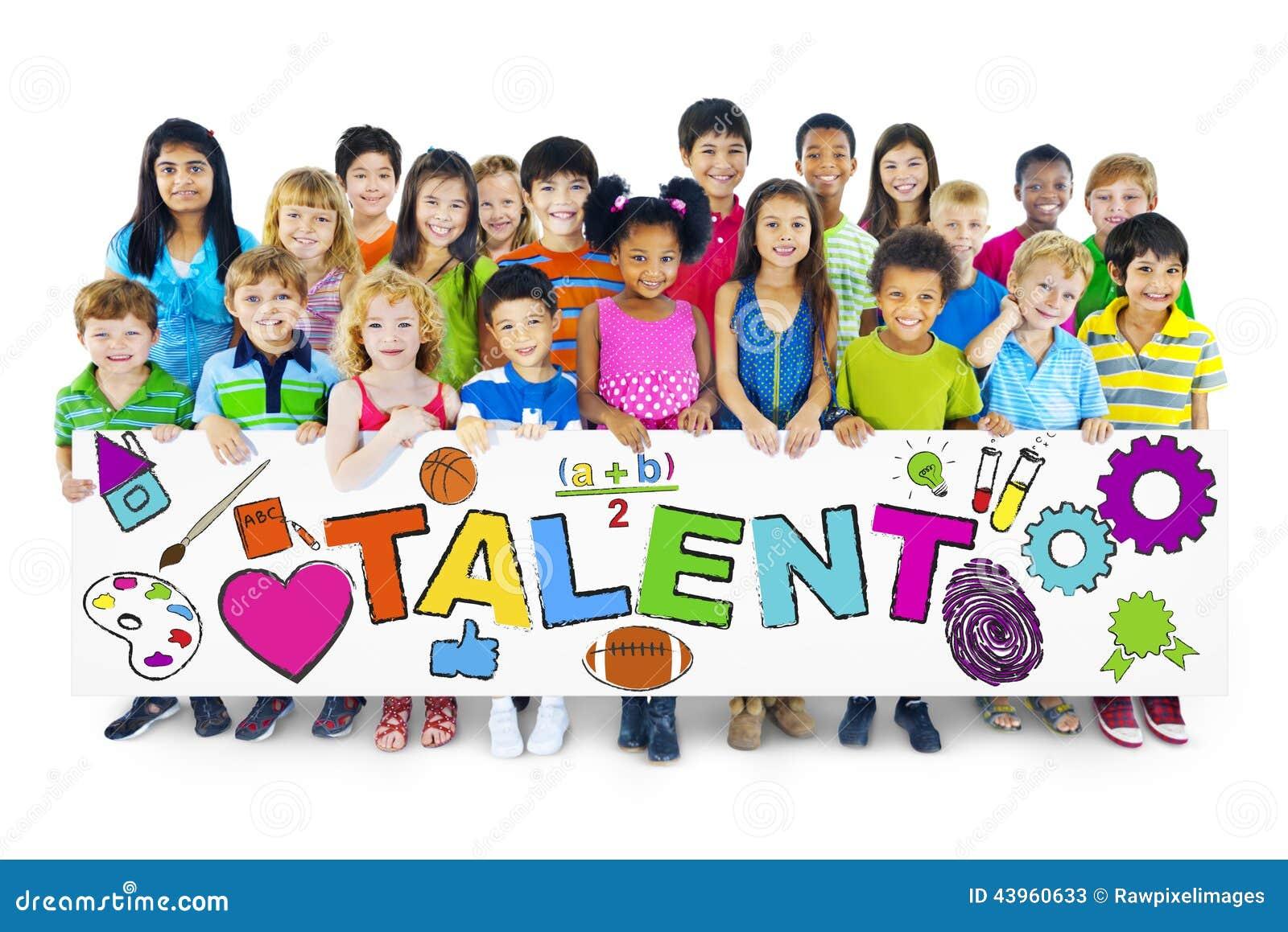 Diverse Vrolijke Kinderen die het Word Talent houden