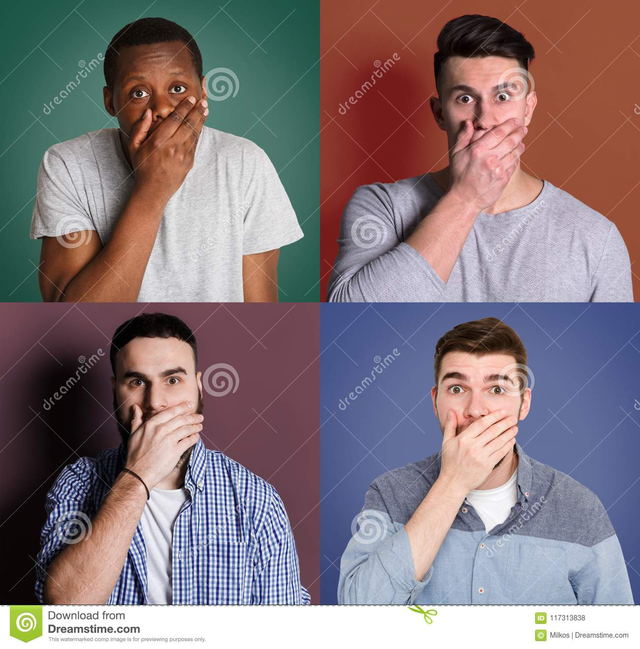 Diverse young men close mouth with hand set