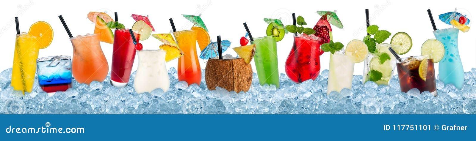 Diverses boissons en glace écrasée