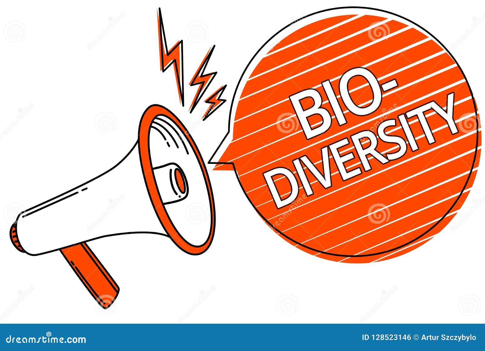 Diversidade do texto da escrita bio Variedade do significado do conceito de organismos Marine Fauna Ecosystem Habitat Megaphone d