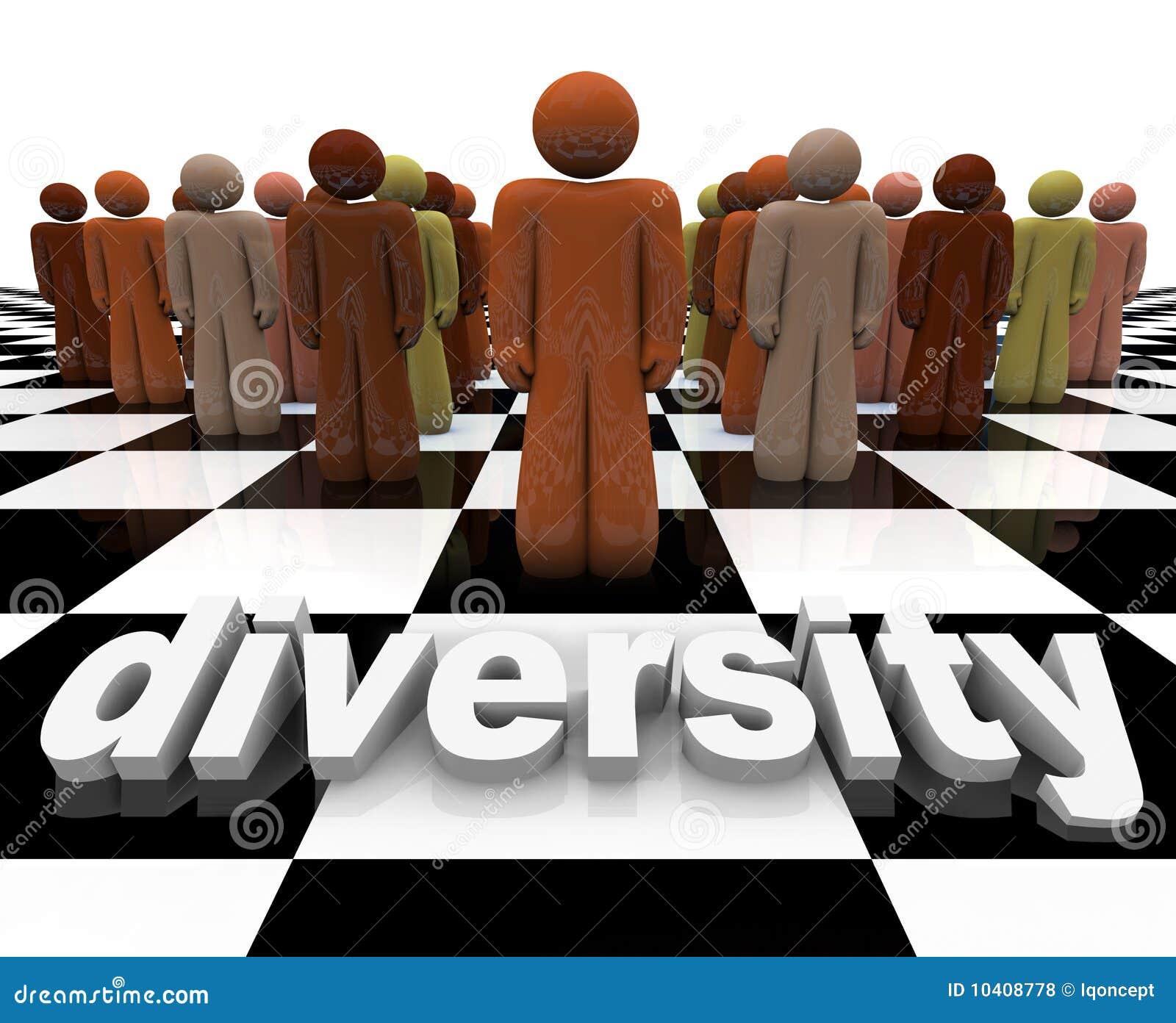 Diversiteit - Word en Mensen op Schaakbord