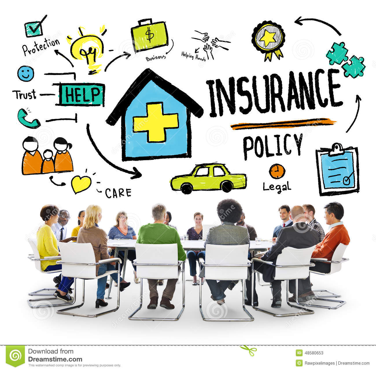 Diversity Casual People Insurance Policy Brainstorming Concept