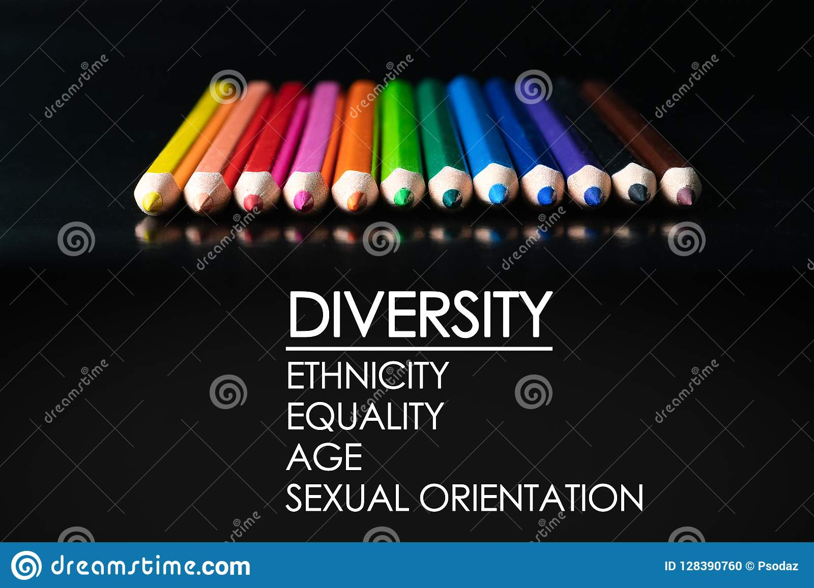 Diversity concept. row of mix color pencil on black background with text Diversity, Ethnicity, Equality, Age, Sexual Orientation
