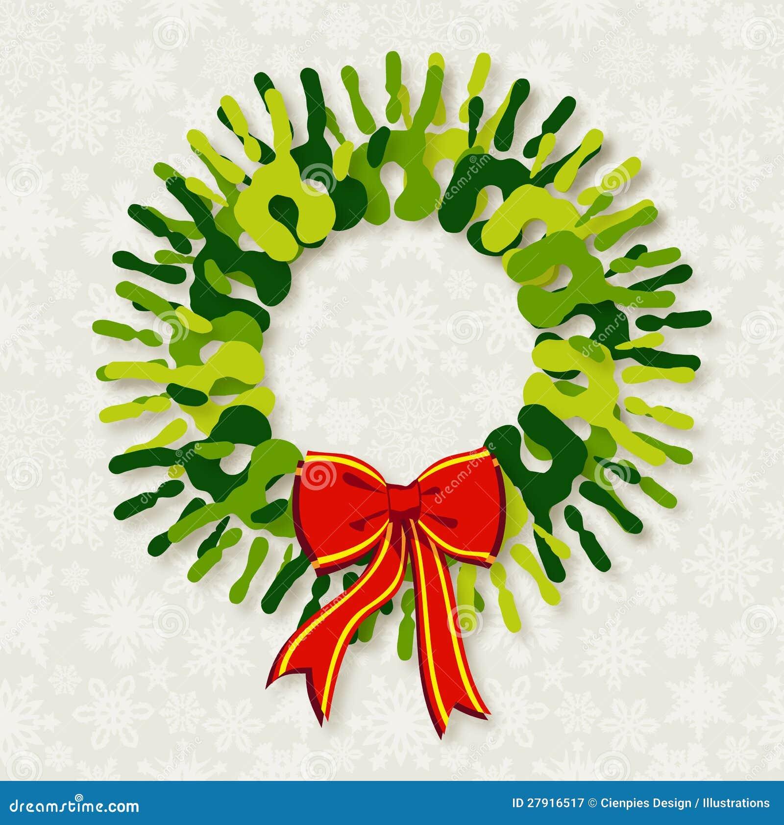 Diversity Green Hands Christmas Wreath Stock Vector