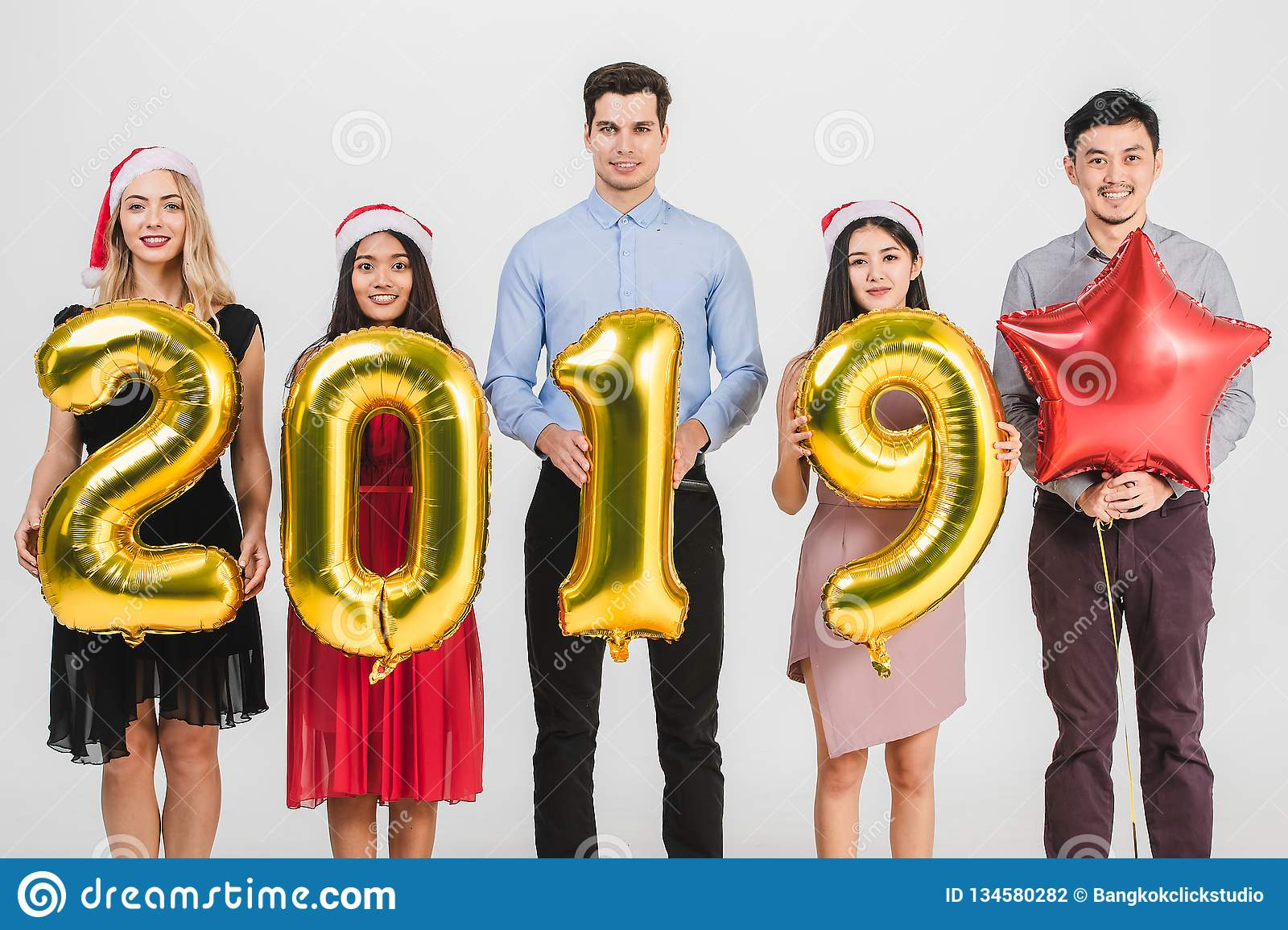 Diversity people celabrate new year 2019