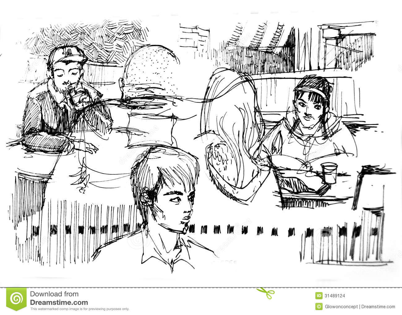 Diversity Of People In Coffee Shop Drawing Stock Images