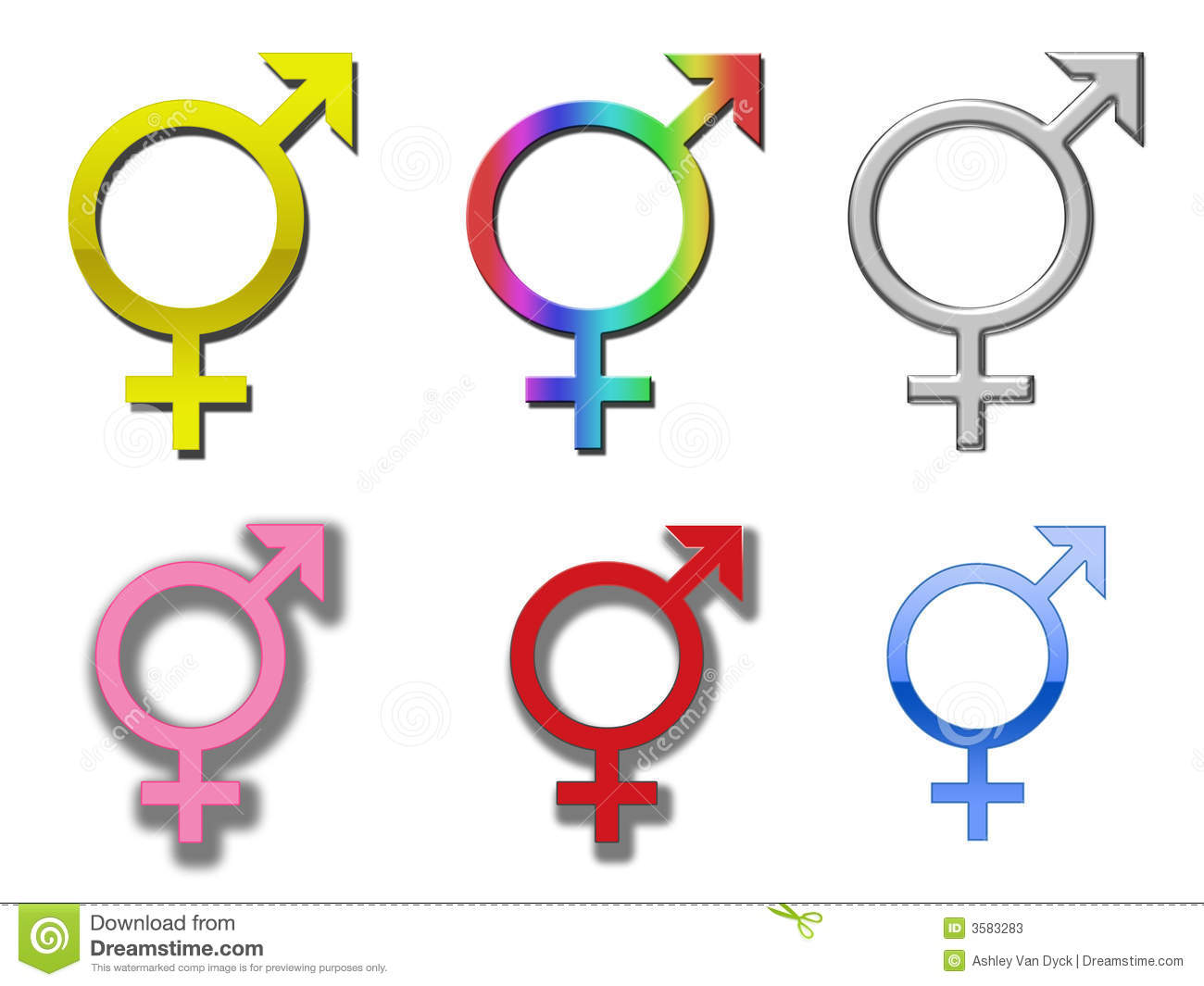 selection of different colored diversity/trans-gender symbols.