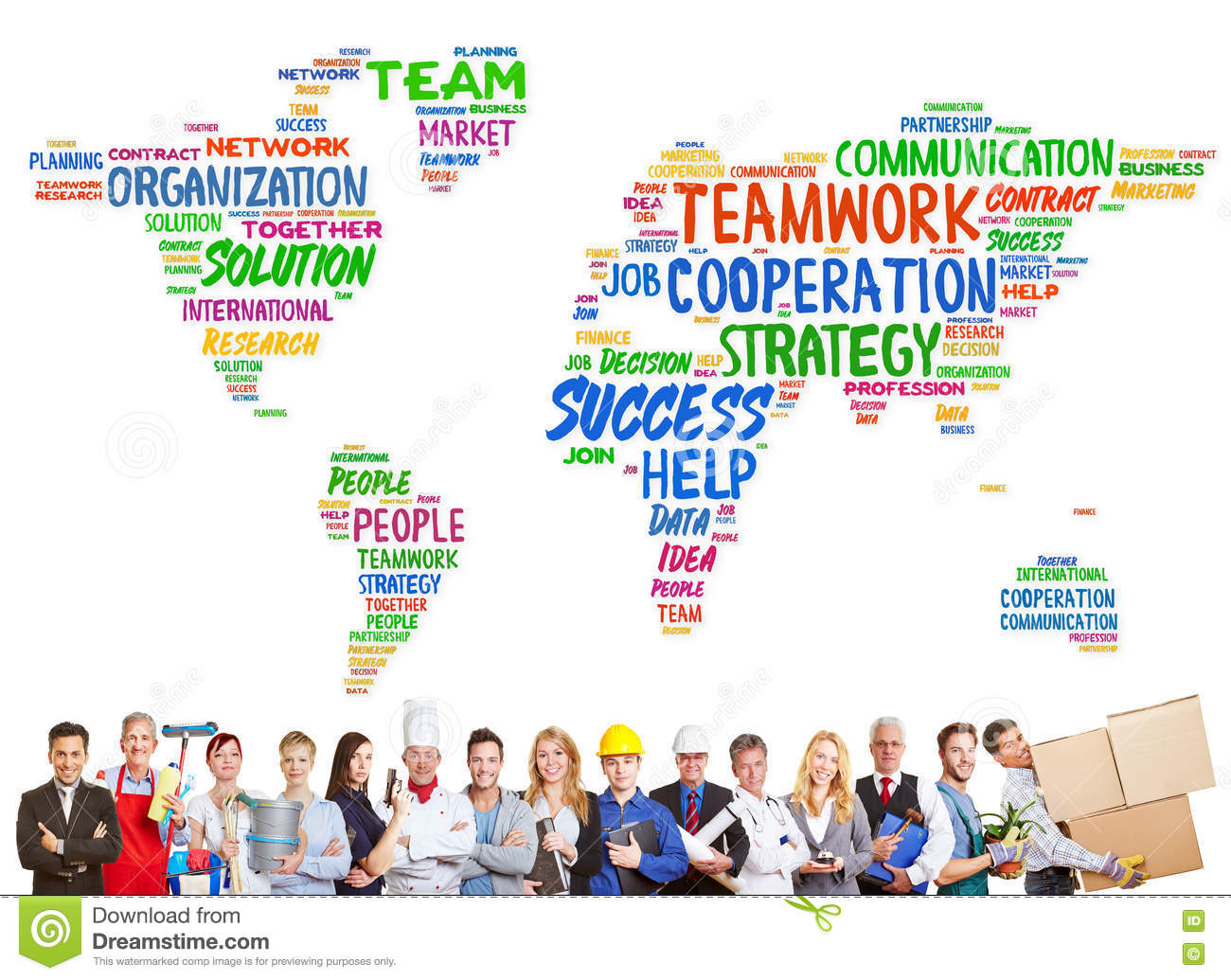 Diversity and teamwork concept with different professions