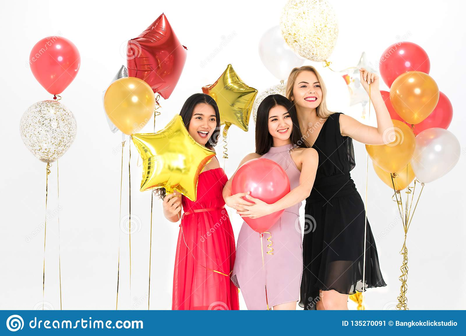 Young women have fun together at party