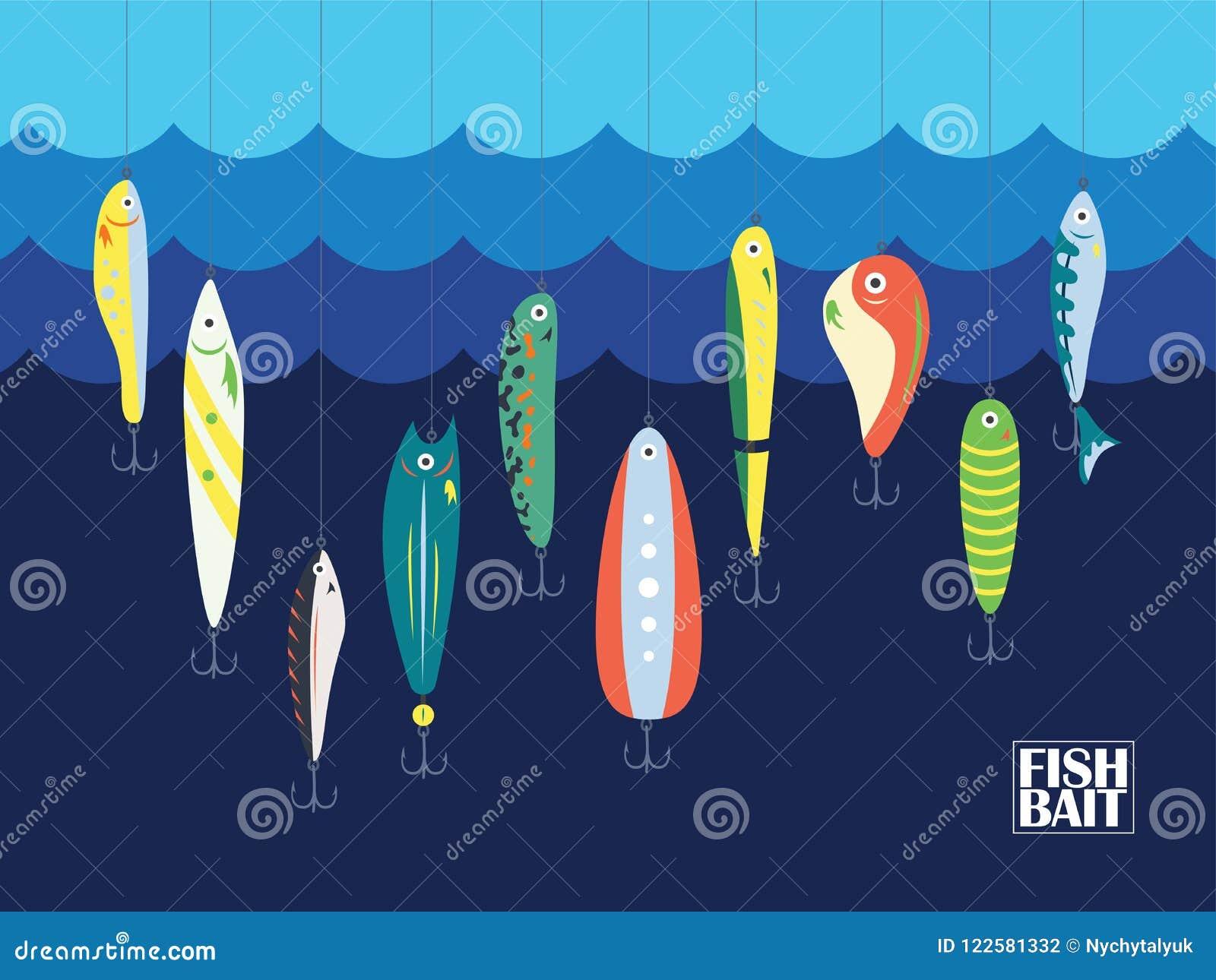 Diverso cebo de pesca del color con los pescados grandes y pequeños de la historieta en el océano o el mar Marine Background With