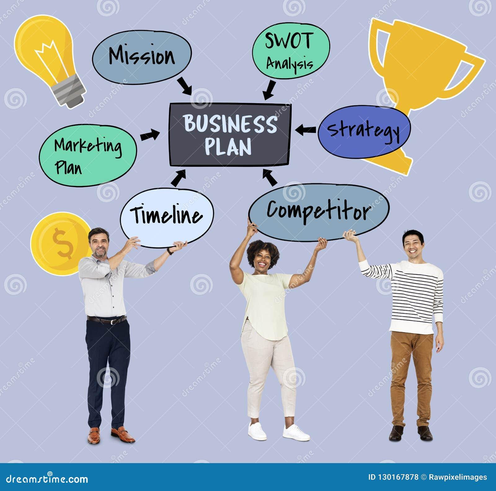 Diverso gruppo con un business plan
