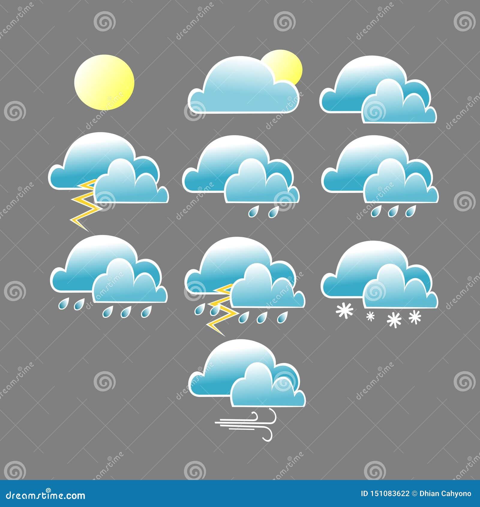 Diverso icono de las condiciones meteorológicas con la nube azul