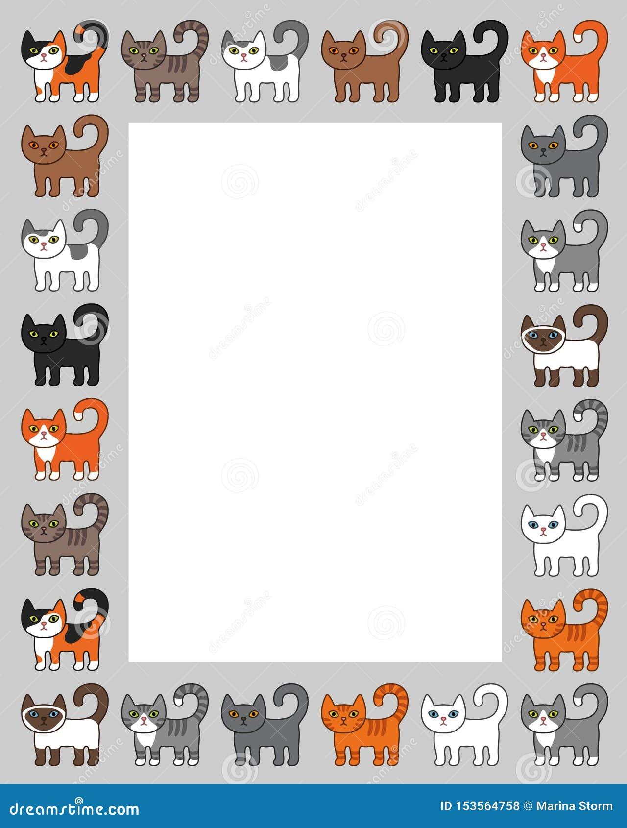 Diverso marco de la frontera de los gatos Ejemplo lindo y divertido del vector del gato del gatito de la historieta fijado con di