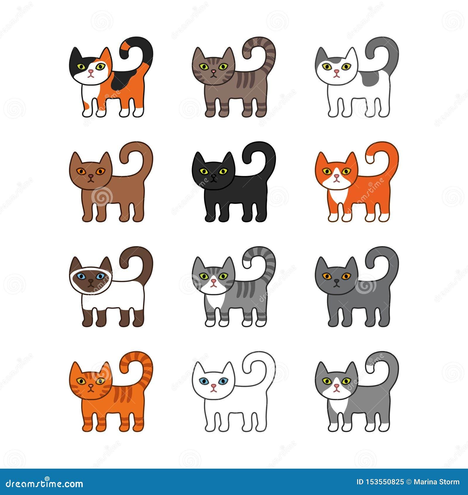 Diverso sistema de los gatos Ejemplo lindo y divertido del vector del gato del gatito de la historieta fijado con diversas razas