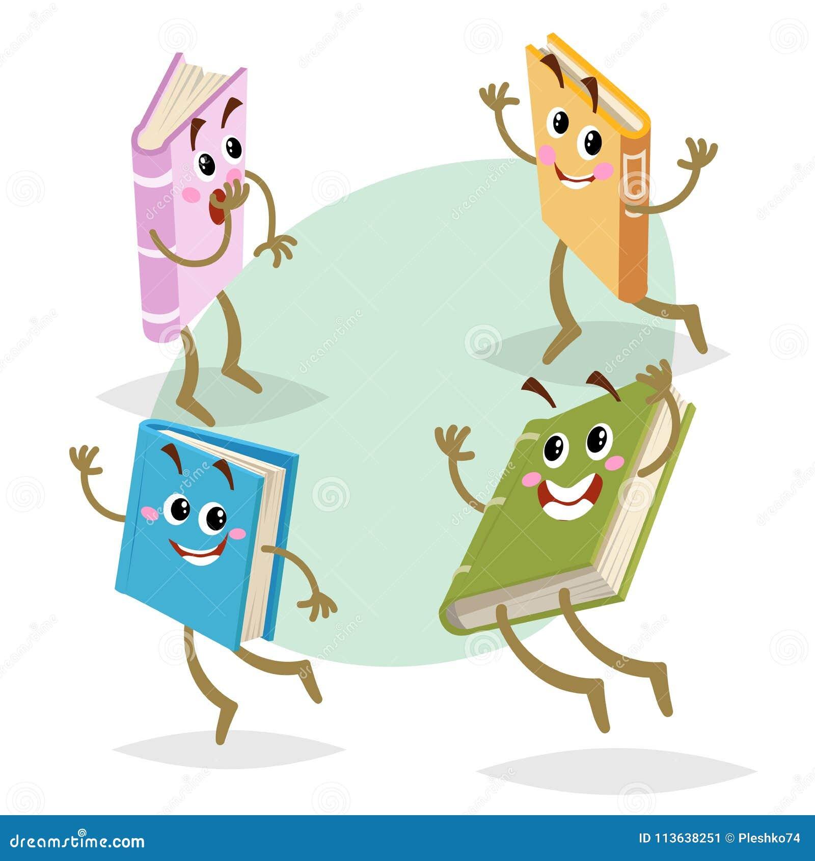 Diversos caracteres de los libros divertidos de los colores de la historieta fijados Mascotas corriendo, del salto y de la sonris