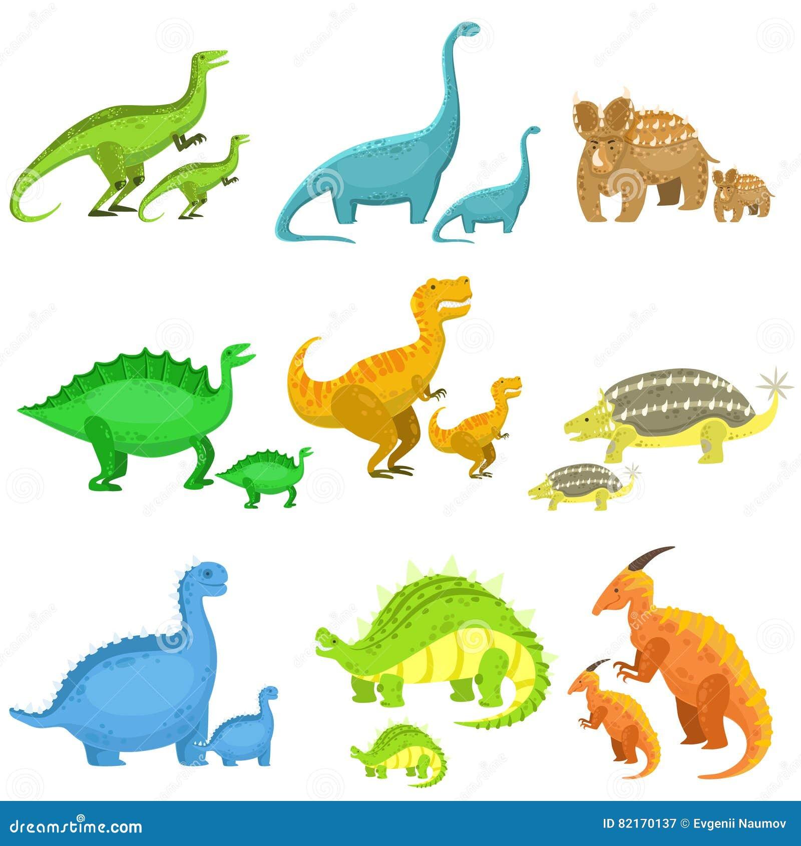 Diversos Dinosaurios En Pares De Grande Y De Pequeño Ilustración del ...