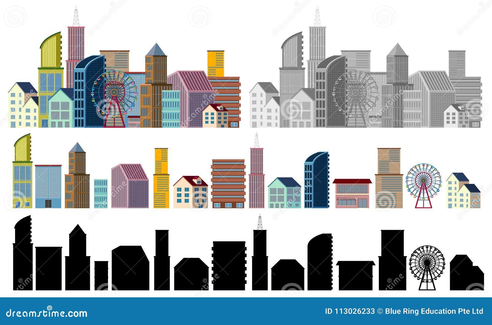 Diversos diseños de edificios en el fondo blanco