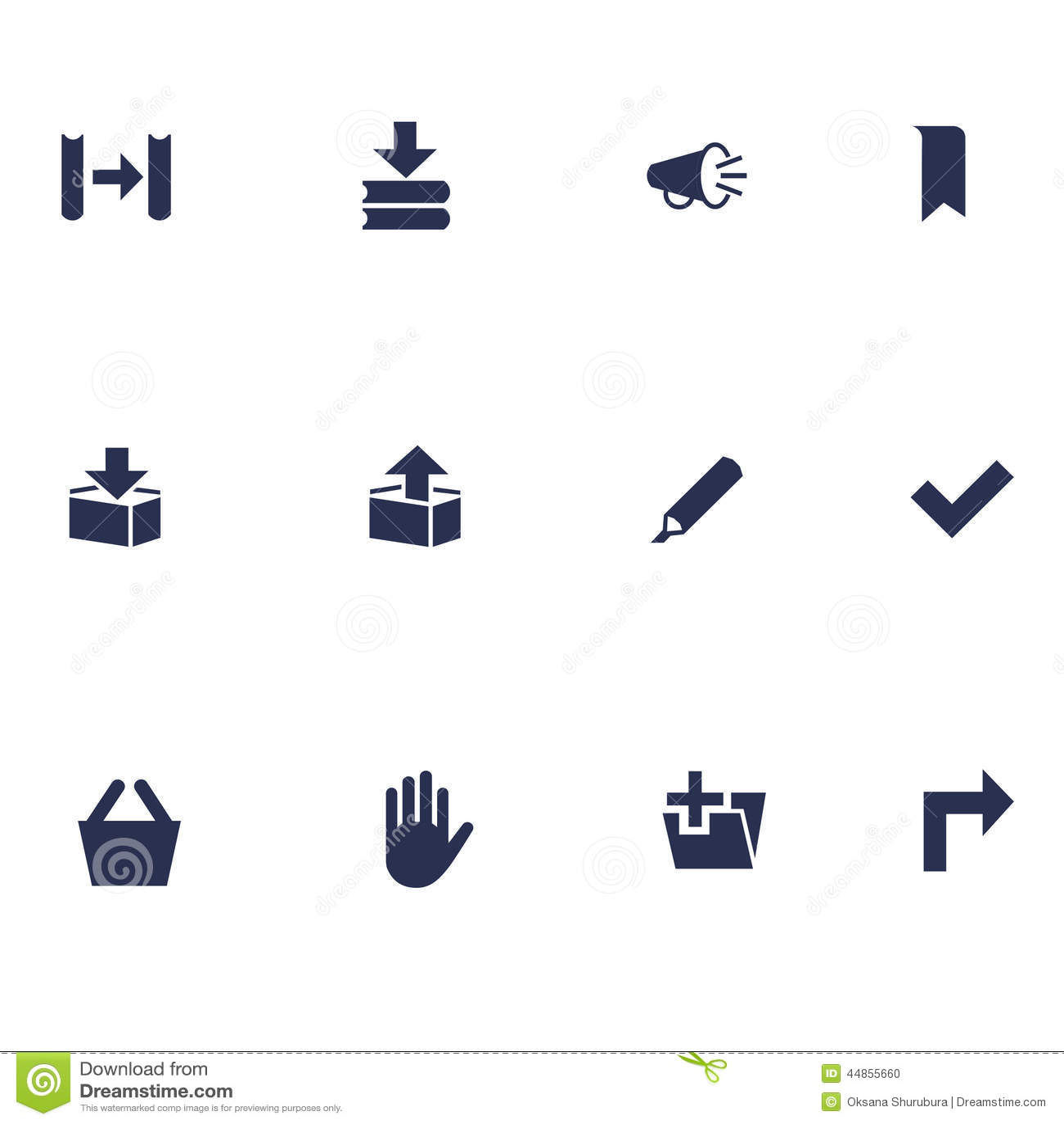Diversos iconos planos para los usos