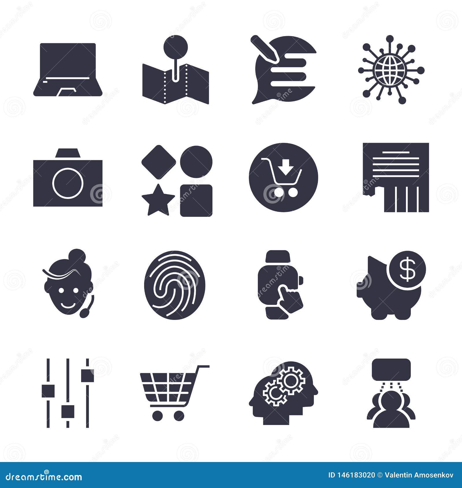 Diversos iconos simples para los apps, los programas, los sitios y otro univ