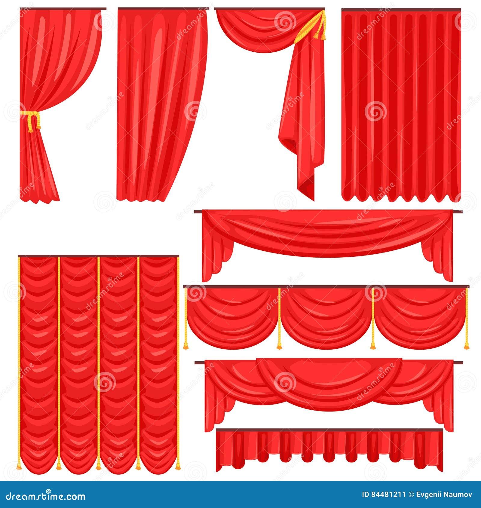 Diversos tipos de cortina de teatro de la etapa y cubren en la colección roja del vector del terciopelo