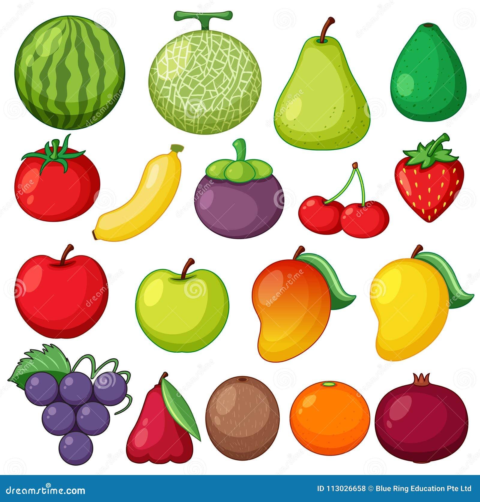 Diversos tipos de frutas frescas en el fondo blanco