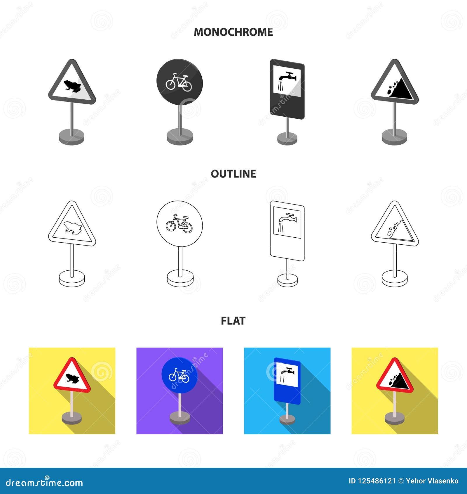 Diversos tipos de señales de tráfico planas, esquema, iconos monocromáticos en la colección del sistema para el diseño Muestras d