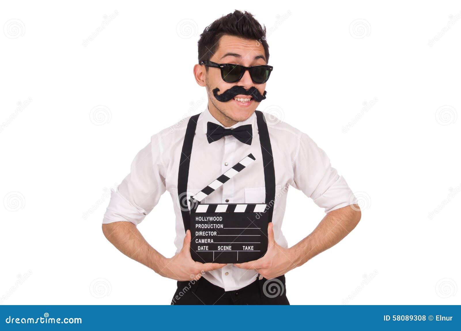 Divertido con la chapaleta de la película aislada en blanco