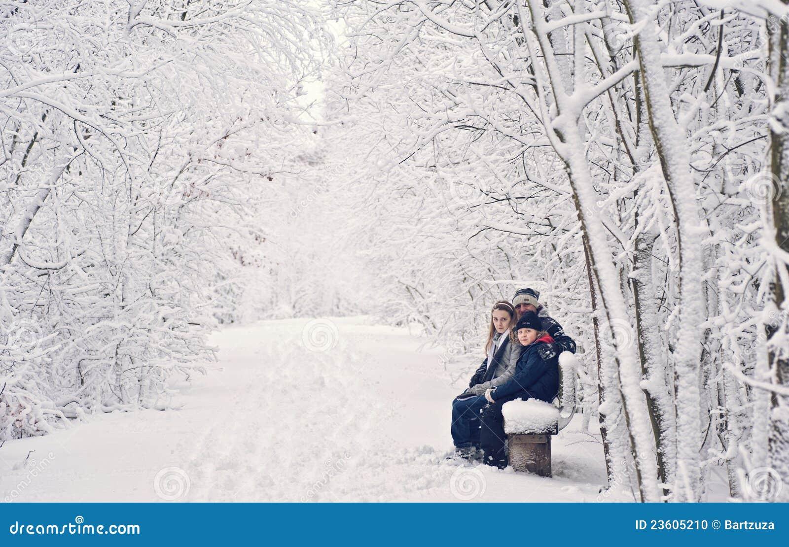 Divertimento di inverno della famiglia