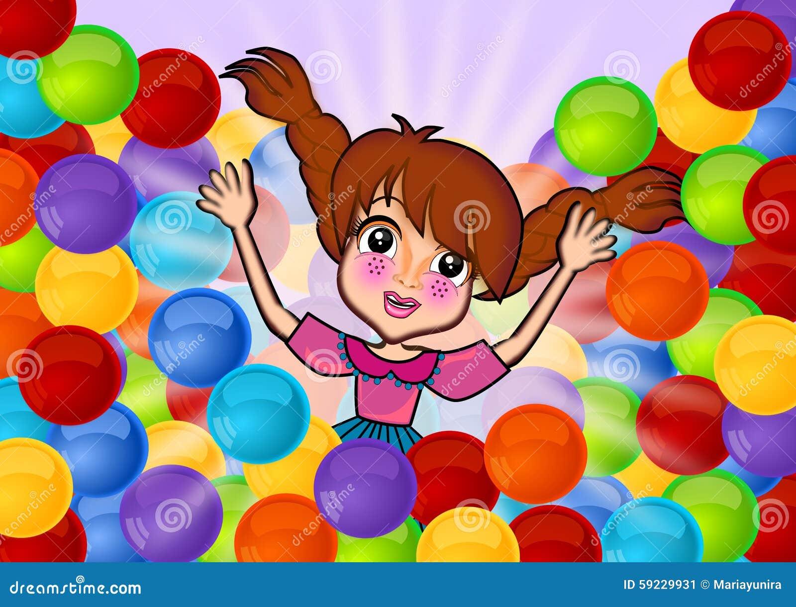 Download Divertirse En Bolas Coloridas Stock de ilustración - Ilustración de fondo, plástico: 59229931